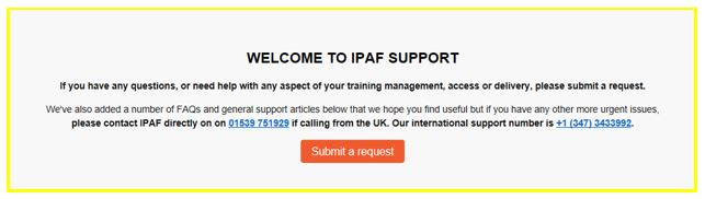 17  Contacting and Using Support – IPAF Support